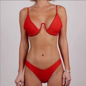 Red bikini set with underwire top